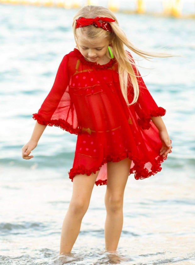 Girls Ruffled Kaftan Swimsuit Cover Up - Girls Swimsuit Cover Up