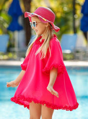 Girls Ruffled Caftan Swimsuit Cover Up - Girls Swimsuit Cover Up