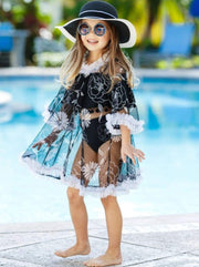 Girls Ruffled Caftan Swimsuit Cover Up - Black / 2T/3T - Girls Swimsuit Cover Up