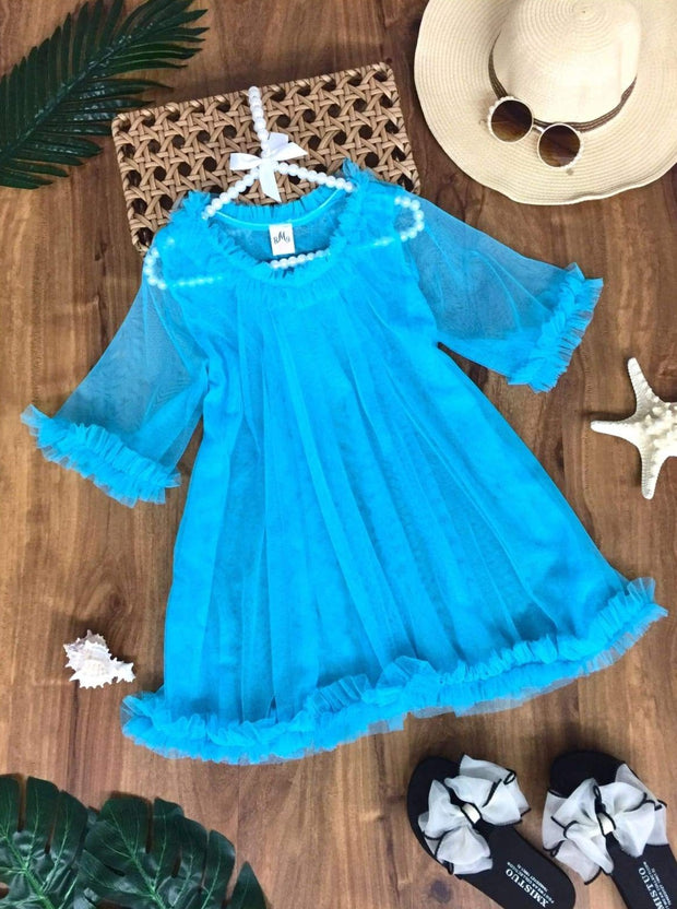Girls Ruffled Caftan Swimsuit Cover Up - Blue / 2T/3T - Girls Swimsuit Cover Up