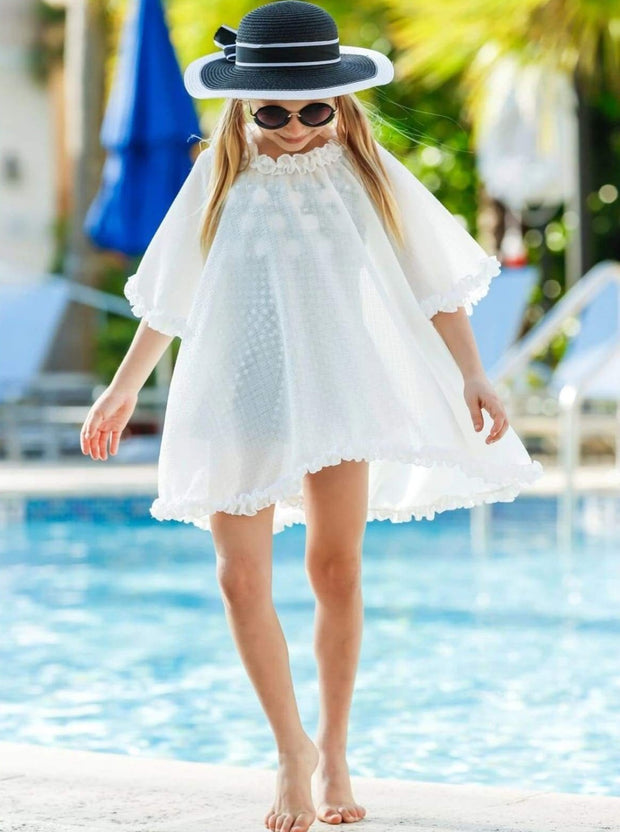 Girls Ruffled Caftan Swimsuit Cover Up - Off White / 2T/3T - Girls Swimsuit Cover Up