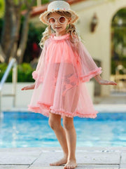Girls Ruffled Caftan Swimsuit Cover Up - Peach / 2T/3T - Girls Swimsuit Cover Up