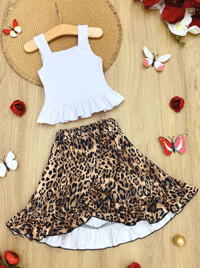 Girls Ruffled Crop Top and Leopard Wrap Skirt Set - Brown / 2T - Girls Spring Casual Set