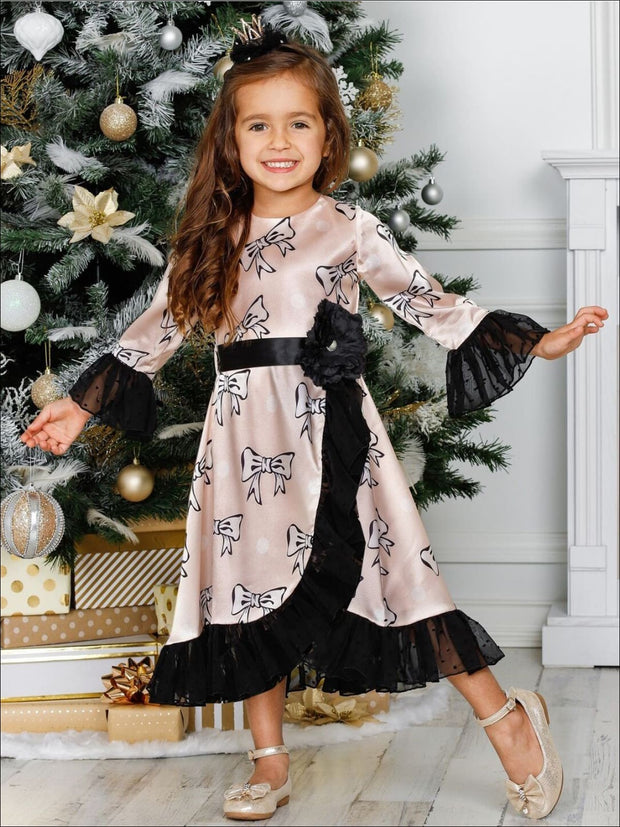 Girls Ruffled Cross Over 3/4 Flared Sleeves Dress with Flower Satin Sash - Girls Fall Dressy Dress