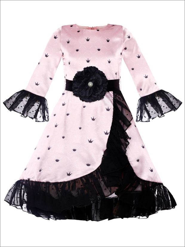 Girls Ruffled Cross Over 3/4 Flared Sleeves Dress with Flower Satin Sash - Pink / 2T/3T - Girls Fall Dressy Dress