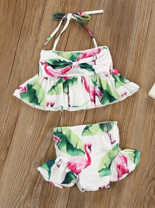 Girls Ruffled Flamingo Print Two Piece Bathing Suit - 12 Months / White - Girls Two Piece Swimsuit