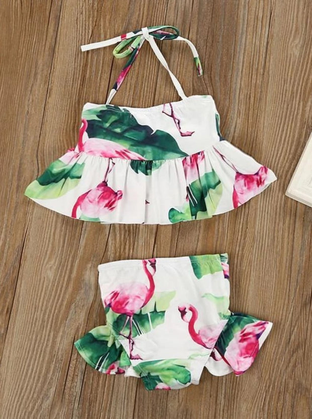Girls Ruffled Flamingo Print Two Piece Bathing Suit - Girls Two Piece Swimsuit
