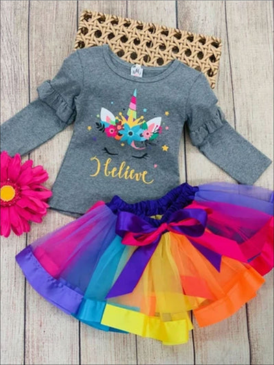 Girls Ruffled Floral I Believe Unicorn Top & Rainbow Bow Tutu Skirt Set - Girls Fall Casual Set