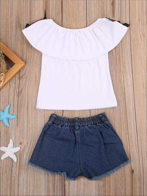 Girls Ruffled Flower Applique Tunic & Denim Shorts Set - Casual Spring Set