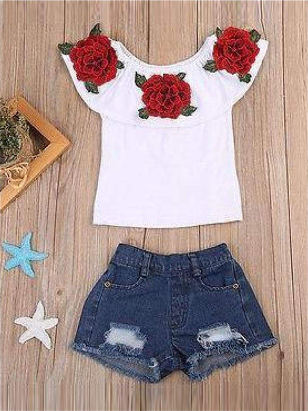 Girls Ruffled Flower Applique Tunic & Denim Shorts Set - 2T - Casual Spring Set