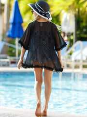 Girls Ruffled Front Tie Caftan Swimsuit Cover Up - Girls Swimsuit Cover Up