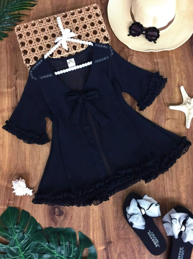 Girls Ruffled Front Tie Caftan Swimsuit Cover Up - Black / 2T/3T - Girls Swimsuit Cover Up
