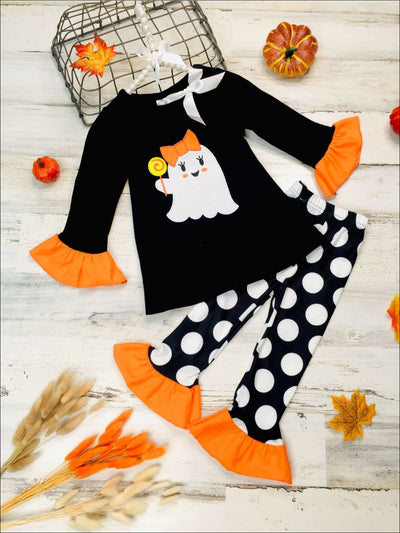 Girls Ruffled Ghost Lollipop Tunic & Polka Dot Leggings Set - Black / 2T - Girls Halloween Set