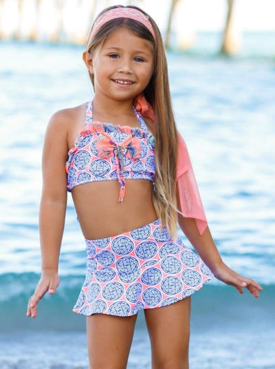Girls Ruffled Halter Neck Top with Bow & Skirted Shorts Two Piece Swimsuit - Girls Two Piece Swimsuit