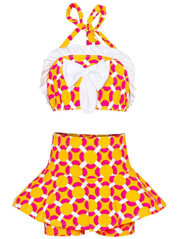 Girls Ruffled Halter Neck Top with Bow & Skirted Shorts Two Piece Swimsuit - Orange / 2T/3T - Girls Two Piece Swimsuit