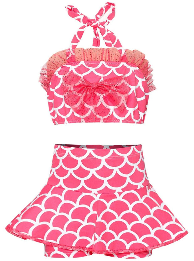 Girls Ruffled Halter Neck Top with Bow & Skirted Shorts Two Piece Swimsuit - Pink / 2T/3T - Girls Two Piece Swimsuit
