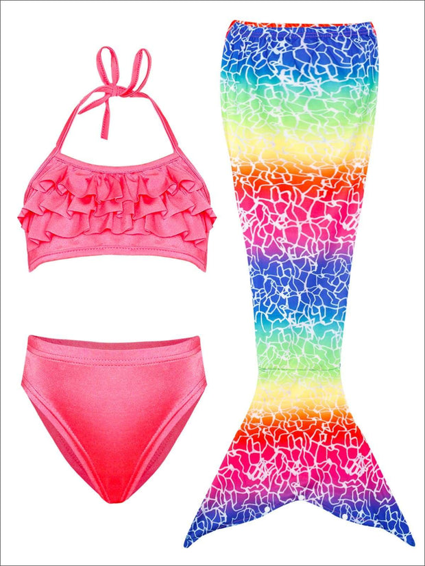 Girls Ruffled Halter Top Mermaid Two Piece Swimsuit With Multicolor Tail Skirt Cover Up - Multicolor / 3T/4T - Girls Mermaid Swimsuit