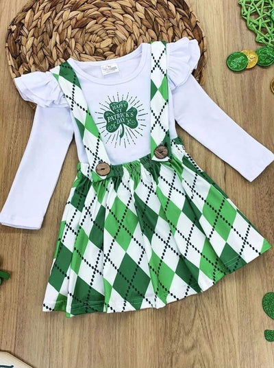 Girls Ruffled Happy St. Patricks Day Clover Top and Houndstooth Overall Dress Set - Green / 2T - Girls St. Patricks Set