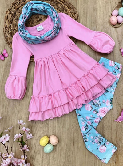 Girls Ruffled Hem Tunic Floral Leggings and Scarf Set - Pink / 2T - Girls Spring Casual Set