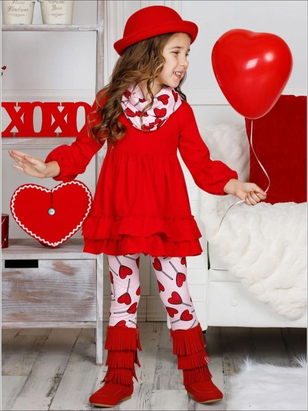 Girls Ruffled Hem Tunic Heart Leggings and Scarf Set - Girls Fall Casual Set