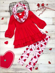 Girls Ruffled Hem Tunic Heart Leggings and Scarf Set - Red / 2T - Girls Fall Casual Set