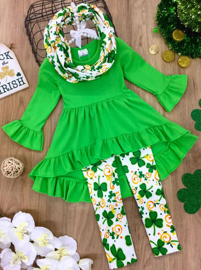 Girls Ruffled Hi-Lo Tunic Clover Swirl Print Leggings and Scarf Set - Green / 2T - Girls St. Patricks Set