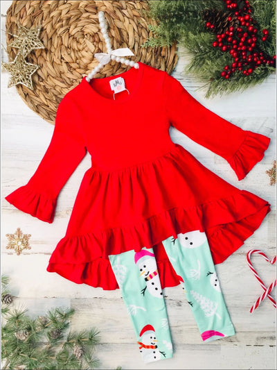 Girls Ruffled Hi-Lo Tunic & Snowman Leggings Set - Red / 3T - Girls Christmas Set