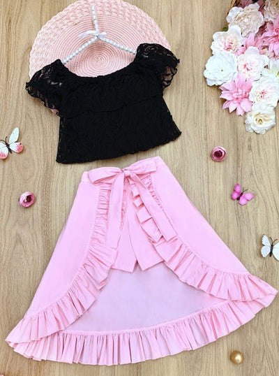 Girls Ruffle Lace Crop Top and Hi-Lo Skirted Shorts Set - Pink / 2T/3T - Girls Spring Casual Set