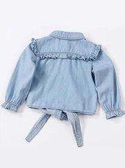 Girls Ruffled Long Sleeve Denim Button Up Blouse ( 2 Color Options) - Girls Fall Top
