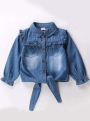 Girls Ruffled Long Sleeve Denim Button Up Blouse ( 2 Color Options) - dark blue / 2T - Girls Fall Top