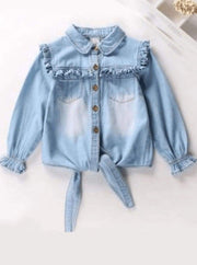 Girls Ruffled Long Sleeve Denim Button Up Blouse ( 2 Color Options) - light blue / 2T - Girls Fall Top