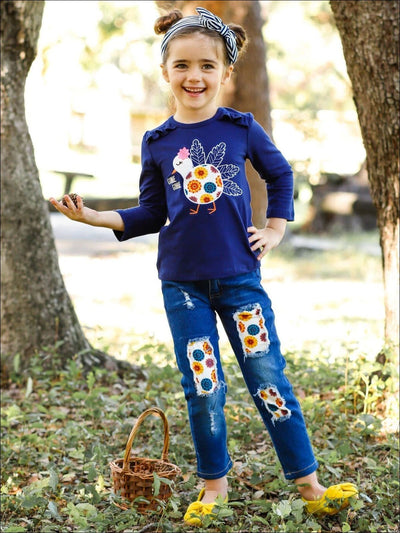 Girls Ruffled Long Sleeve Gobble Gobble Floral Turkey Top & Jeans Set - Girls Thanksgiving Set