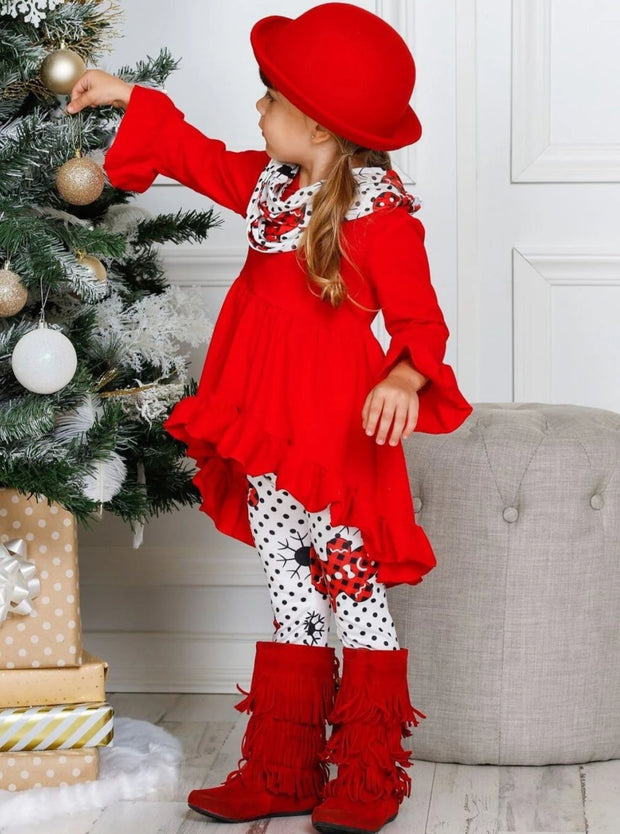 Girls Ruffled Long Sleeve Tunic Polka Dot Gingerbread Print Leggings & Scarf Set - Girls Fall Casual Set
