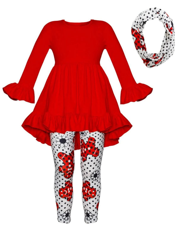 Girls Ruffled Long Sleeve Tunic Polka Dot Gingerbread Print Leggings & Scarf Set - Red / S-3T - Girls Fall Casual Set