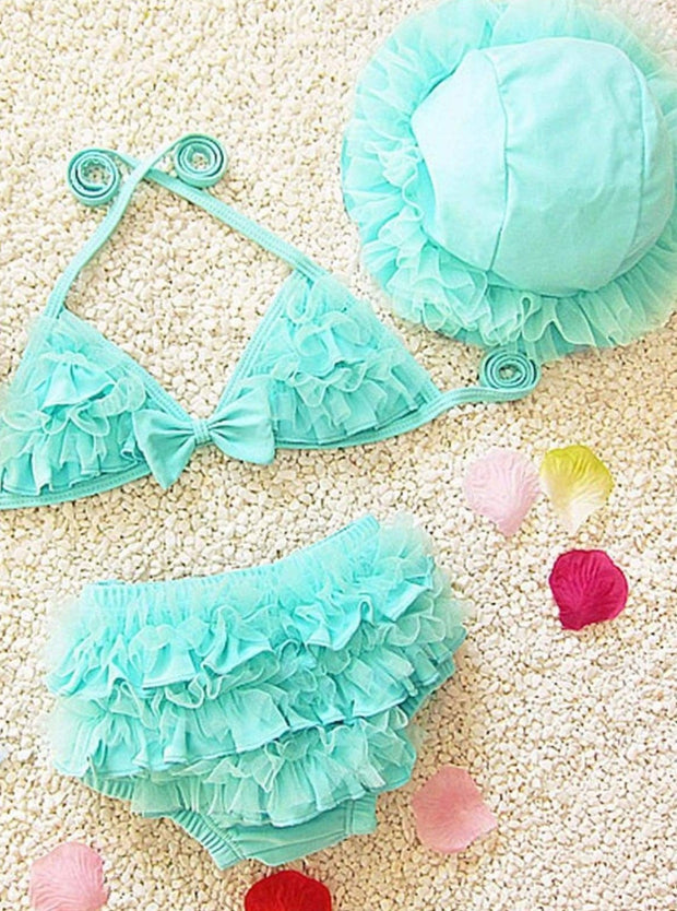 Girls Ruffled Mesh Two Piece Swimsuit With Beach Hat - Blue / 2T - Girls Two Piece Swimsuit