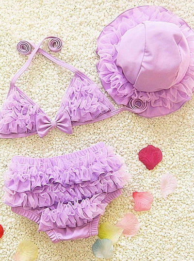 Girls Ruffled Mesh Two Piece Swimsuit With Beach Hat - Purple / 2T - Girls Two Piece Swimsuit