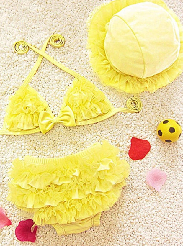 Girls Ruffled Mesh Two Piece Swimsuit With Beach Hat - Yellow / 2T - Girls Two Piece Swimsuit