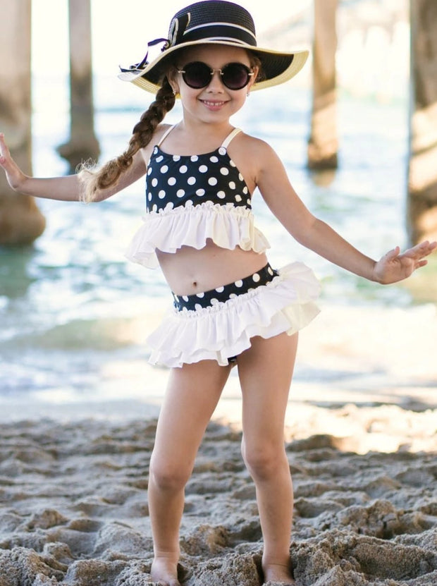 Girls Ruffled Polka Dot Two Piece Swimsuit with Matching Cover Up Jacket - Girls Two Piece Swimsuit