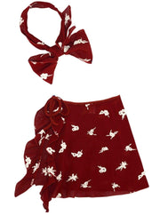 Girls Ruffled Side Tie Swimsuit Sarong Cover Up and Bow Headband - Burgundy / 2T/3T - Girls Swimsuit Cover Up