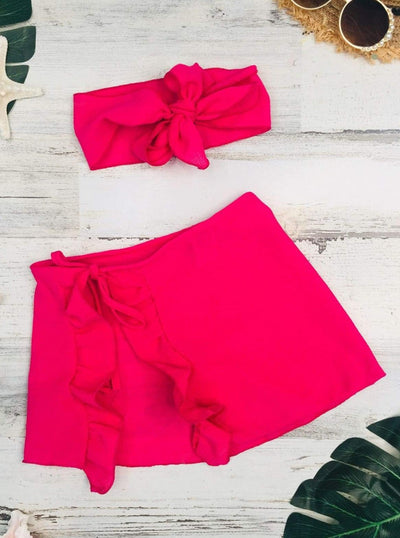 Girls Ruffled Side Tie Swimsuit Sarong Cover Up and Bow Headband - Fuchsia / 2T/3T - Girls Swimsuit Cover Up