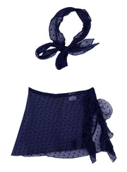 Girls Ruffled Side Tie Swimsuit Sarong Cover Up and Bow Headband - Navy / 2T/3T - Girls Swimsuit Cover Up