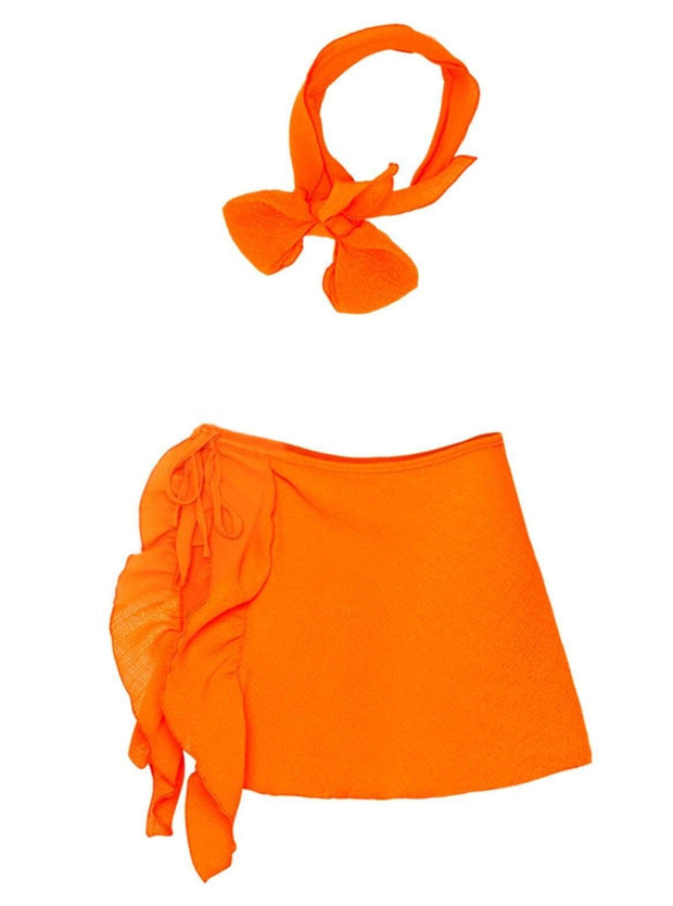 Girls Ruffled Side Tie Swimsuit Sarong Cover Up and Bow Headband - Orange / 2T/3T - Girls Swimsuit Cover Up