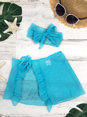 Girls Ruffled Side Tie Swimsuit Sarong Cover Up and Bow Headband - Turquoise / 2T/3T - Girls Swimsuit Cover Up