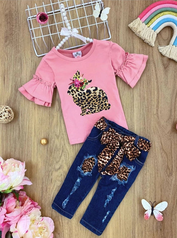 Girls Ruffled Sleeve Bunny Tunic and Belted Ripped Jeans Set - Pink / 2T - Girls Spring Casual Set