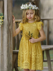 Girls Ruffled Sleeve Embroidered Floral Lace Dress - Girls Spring Casual Dress
