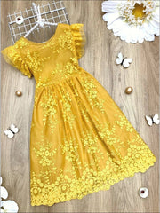 Girls Ruffled Sleeve Embroidered Floral Lace Dress - Yellow / 3T - Girls Spring Casual Dress