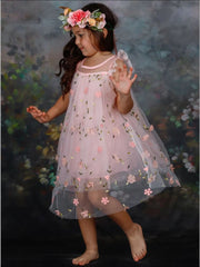 Girls Ruffled Sleeve Floral Pink Mesh Dress - Girls Spring Dressy Dress