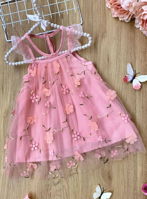 Girls Ruffled Floral Pink Lace Mesh Dress - Pink / 3T - Girls Spring Dressy Dress