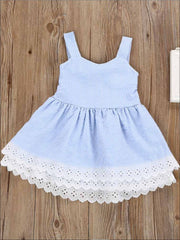 Girls Ruffled Sleeveless Blue & White Striped Summer Dress - Girls Spring Casual Dress