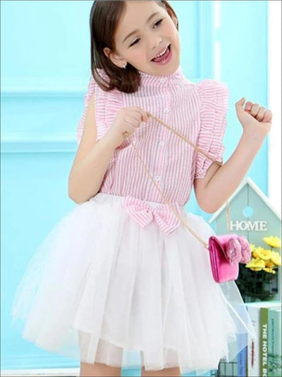 Girls Ruffled Sleeveless Striped Button Down Shirt & White Tutu Skirt Set - Girls Spring Dressy Set
